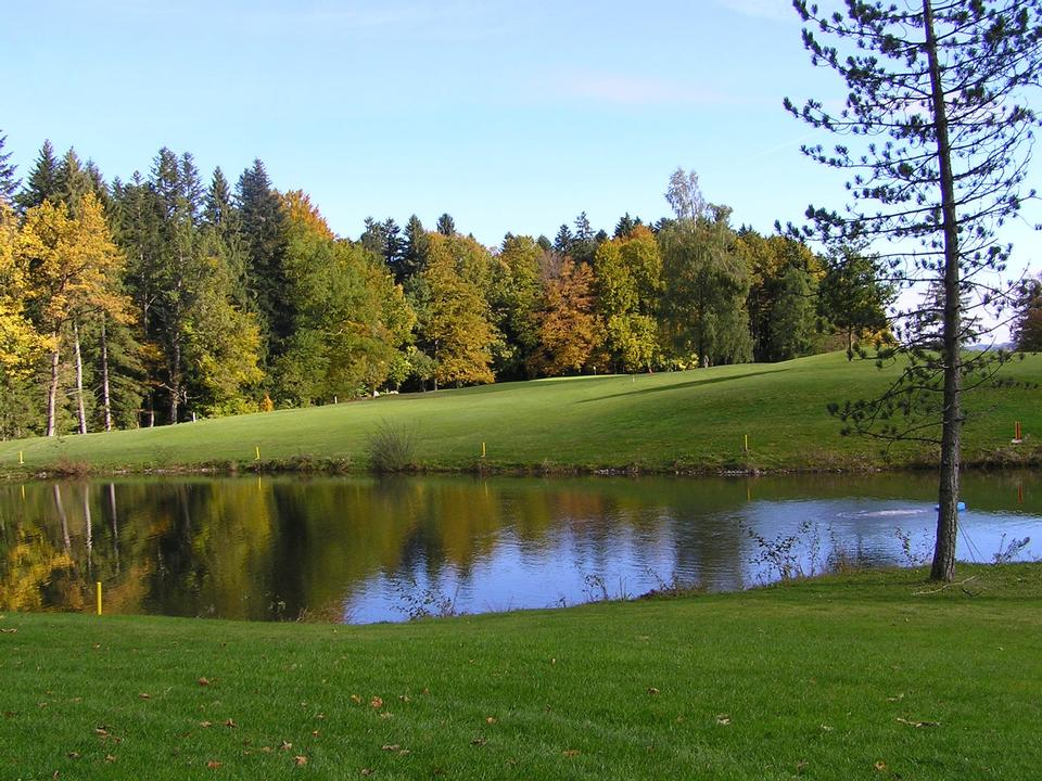 Golf course with gorgeous green and pond