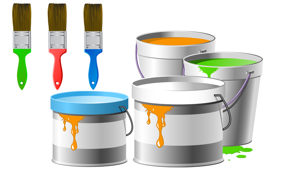 Set for painting: paint pots, brushes