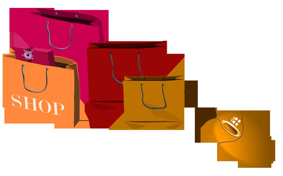 Bolsos de compras y ratón del ordenador. Concepto de las compras electrónicas.