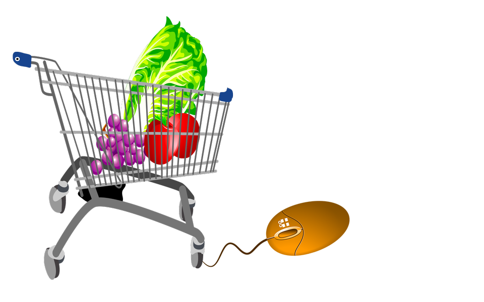 Trolley mouse grocery vegetables concept, perhaps a concept for s