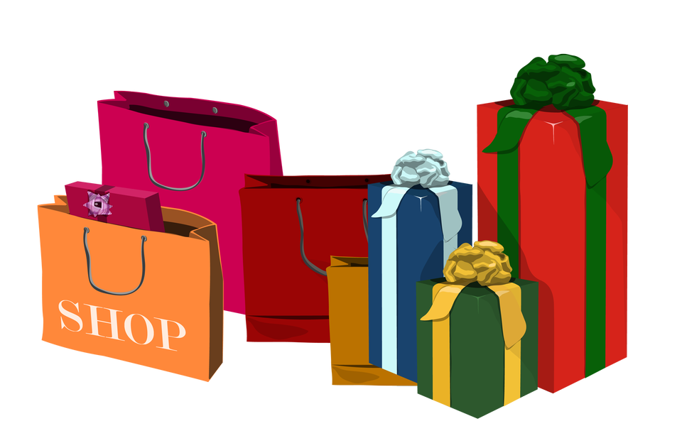 Various sizes of holiday shopping bags and gift boxes