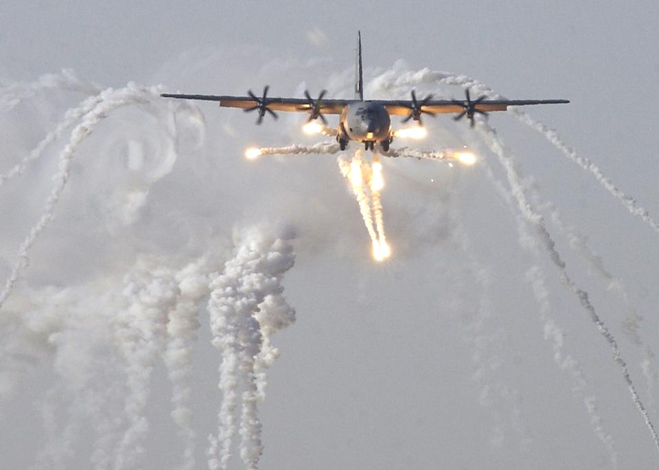 A British C-130J Hercules aircraft launches