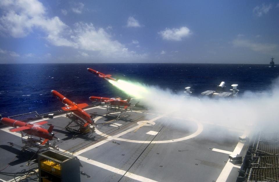 A target drone is fired off the flight deck
