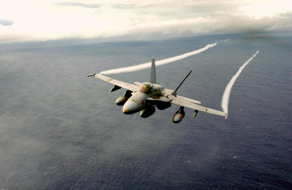 An F/A-18 Hornet assigned to the Mighty Shrikes of Strike Fighter