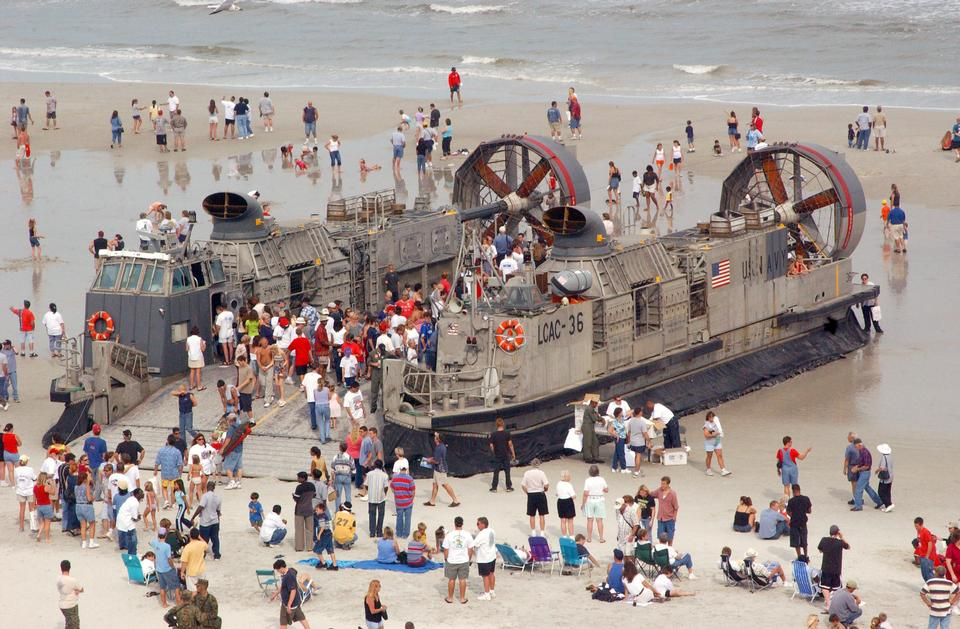 Spectators tour A Landing Craft Air Cushion
