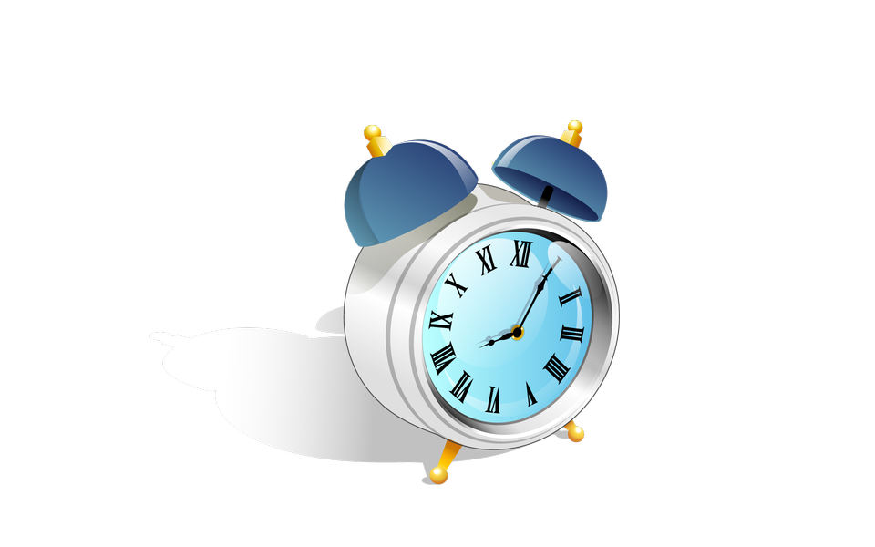 Blue alarm clock.