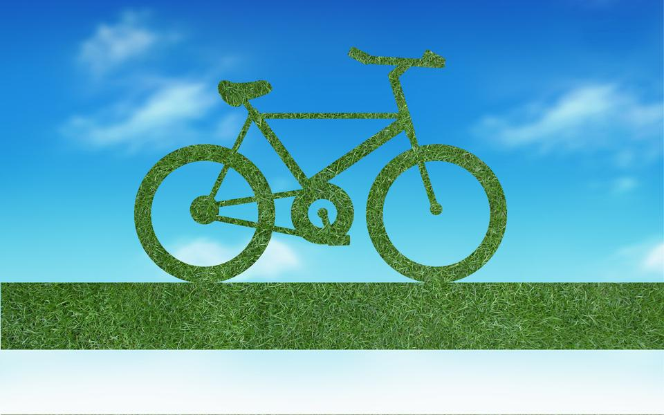 Bicycle made out of green leaves
