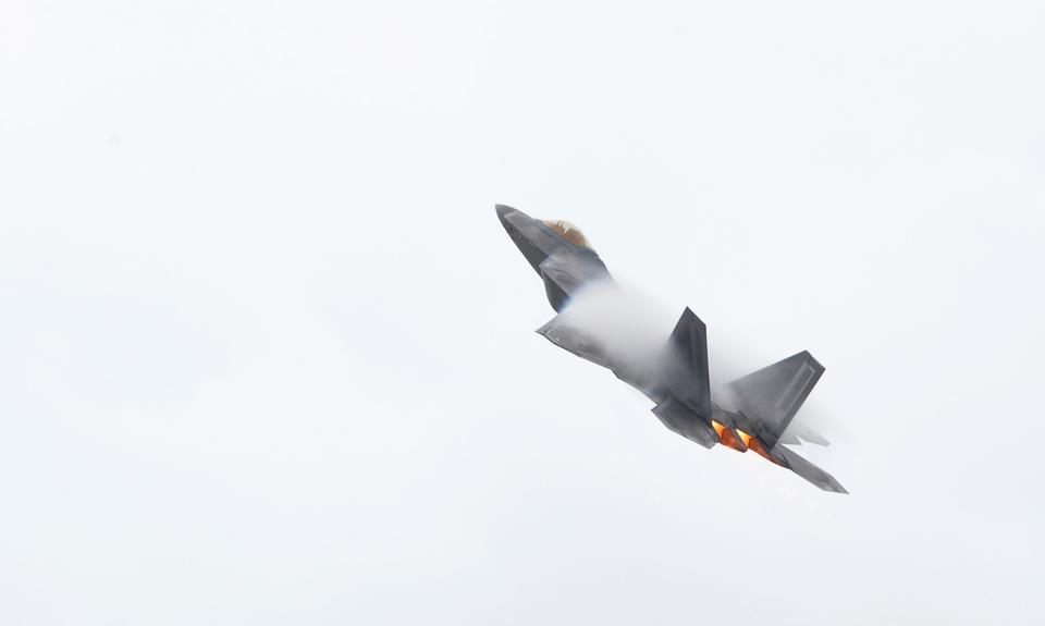 F-22 Raptor takes off for a training mission