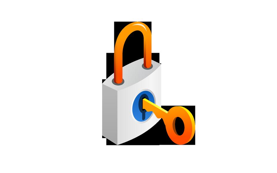 Gold key in the metal lock.