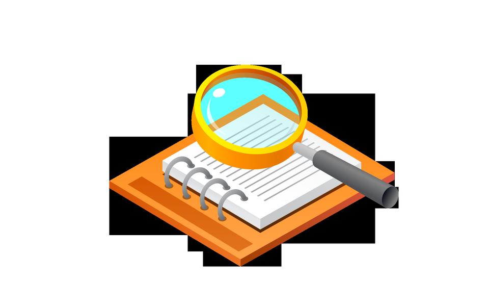 クリップボードと拡大鏡のチェックリストを使用して検索のコンセプト