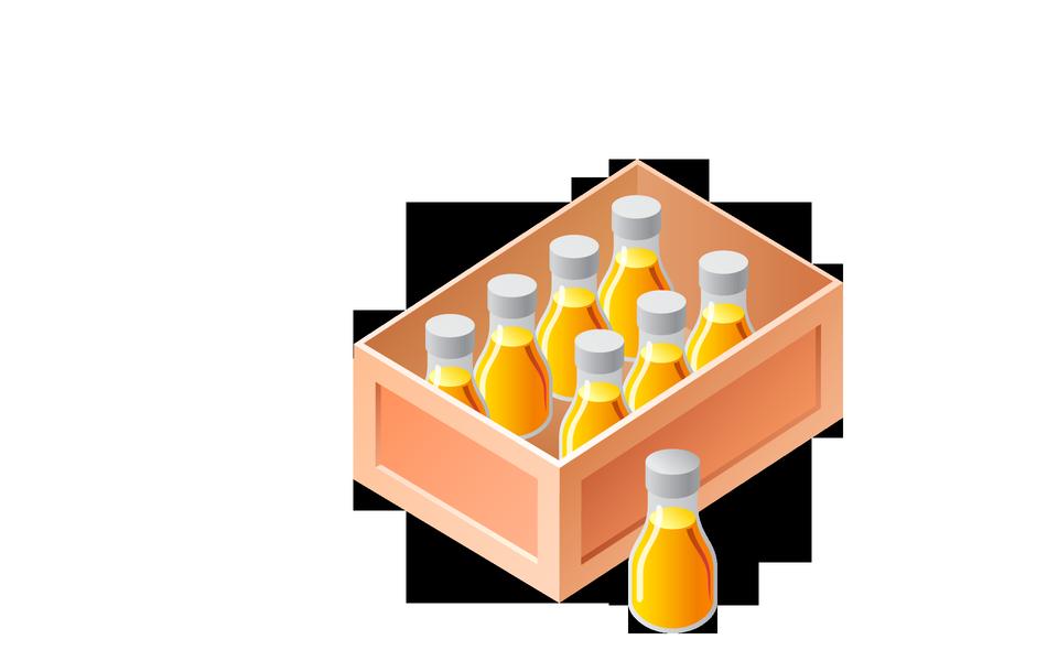 A wooden box of bottles