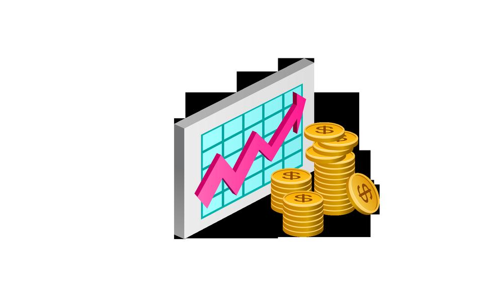 Gráfico de negocio positiva flecha rosa ancho