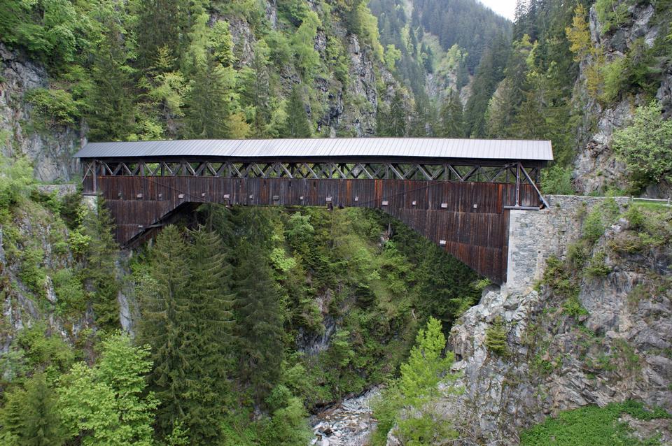 Punt Russein Brücke in Disentis Schweiz
