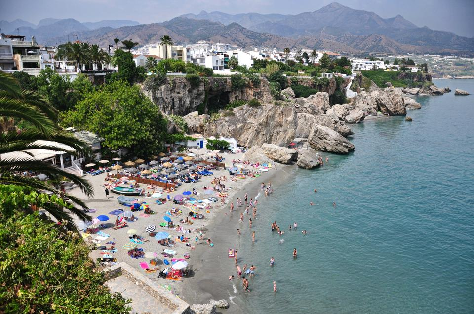 Calahonda beach in the Balcon de Europa in Nerja