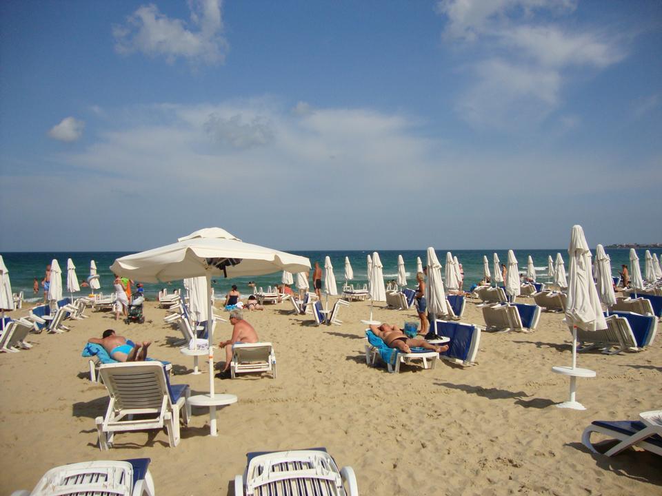 Crowded beach in Byala, Bulgaria