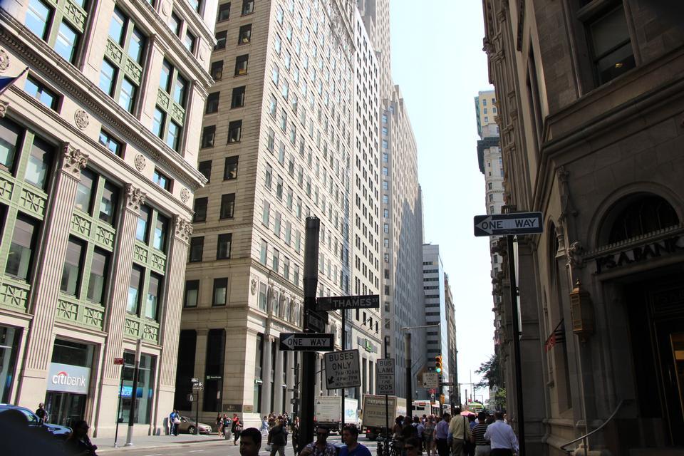 華爾街金融區的紐約市