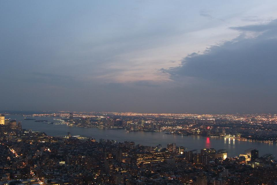 Aerial view of Manhattan by night