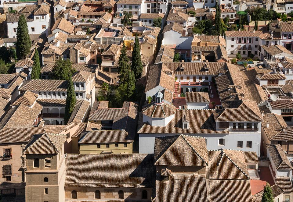 Tiled roofs of patrician houses Granada, Spain