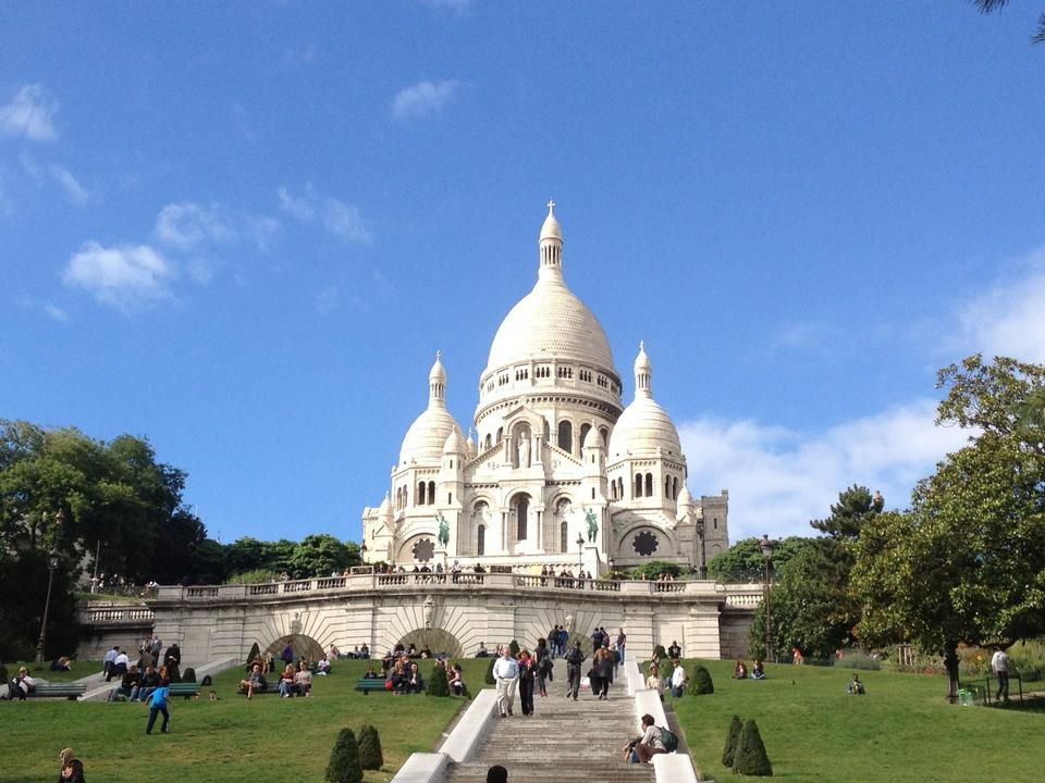 Summer view on basilica of the Sacred Heart of Jesus, Paris, Fran