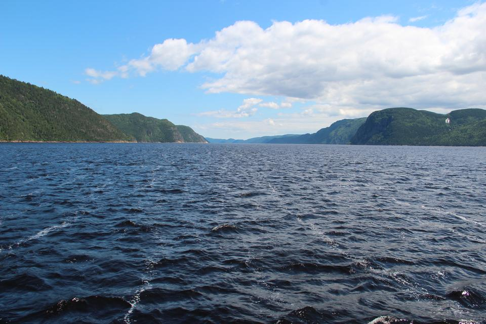 A narrowing on the lower Saguenay Fjord in Quebec