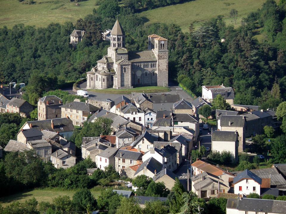 Aerial view of Saint-Nectaire, Auvergne, France