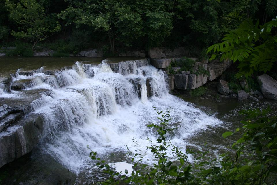 Beautiful waterfalls with rock formations at Taughannock Park