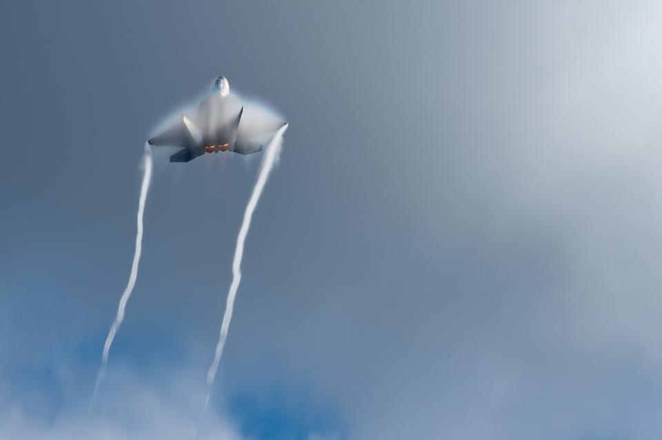 An F-22 Raptor performs aerial maneuvers