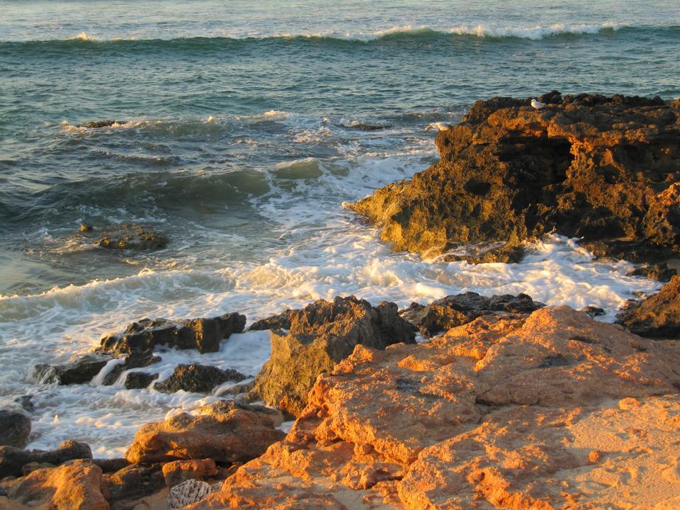 Scogliere di arenaria rossa e una spiaggia di sabbia in Exmouth, Devon