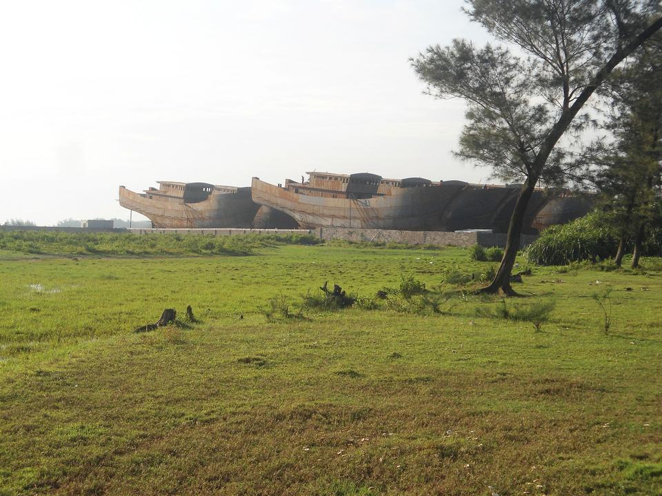 船廠的新埠島,海南,中國的西北岸