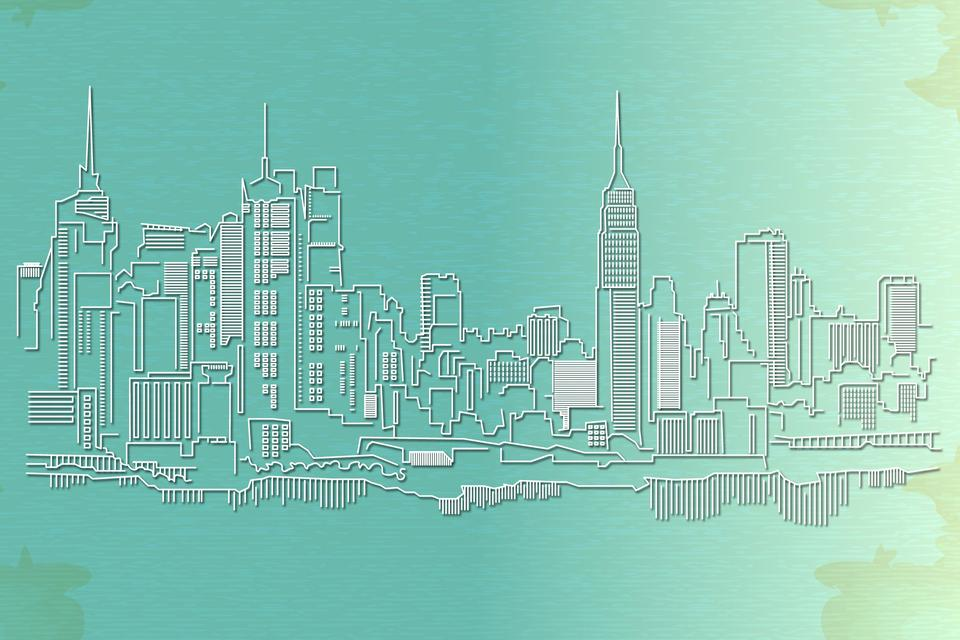 New York City skyline on paper