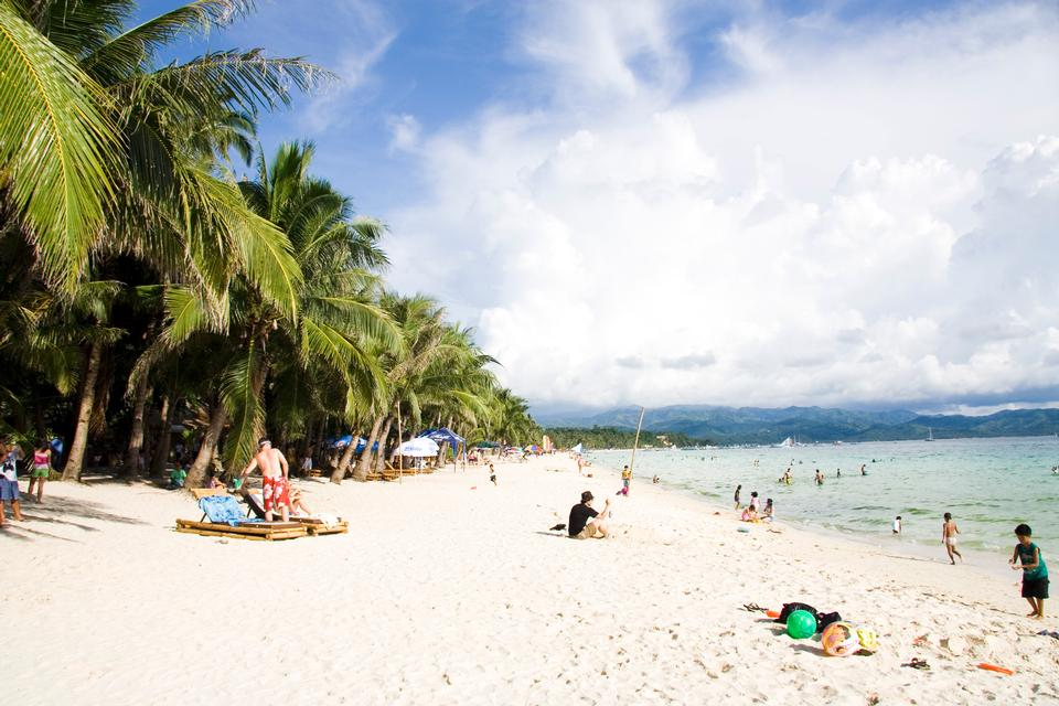 White sandy beach on Boracay island, Philippines