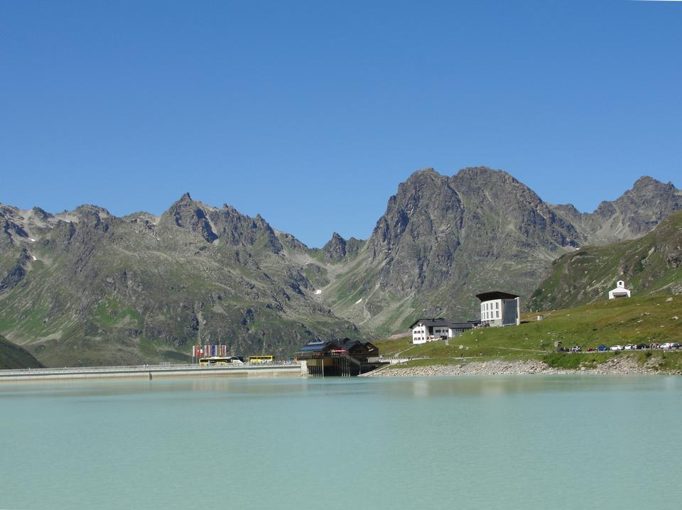 Turquoise blue waters in Silvretta Stausee Lake