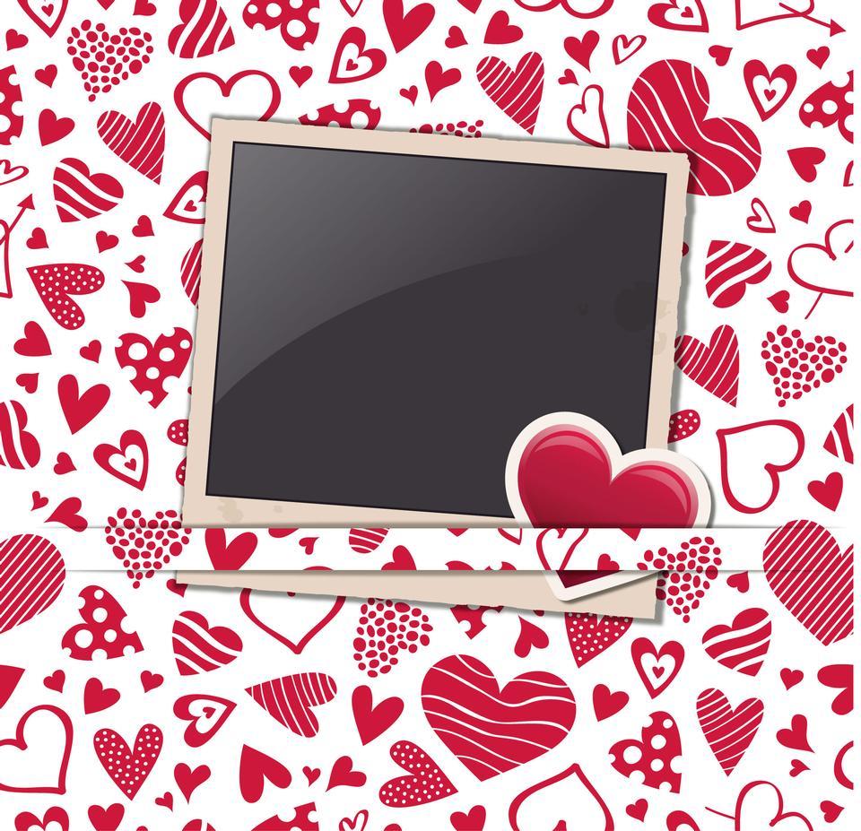 Valentine haert Hintergrund mit Bilderrahmen