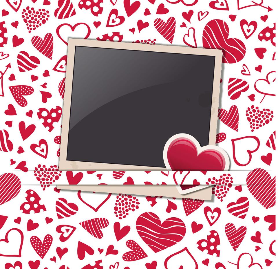 Fondo de San Valentín haert con marcos de fotos