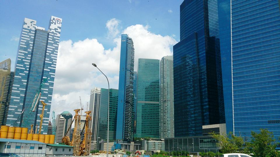 新加坡的中央商务区的天际线
