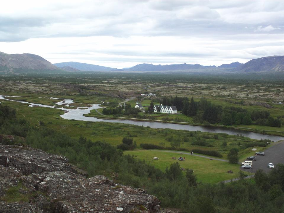 Scenic view of famous Thingvellir with white church, Iceland