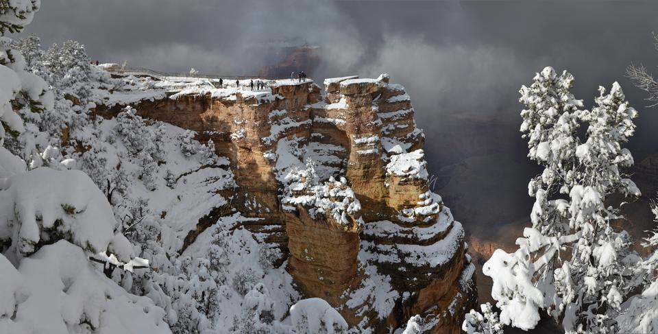Grand Canyon National Park: Winter-Sturm von Mather Point