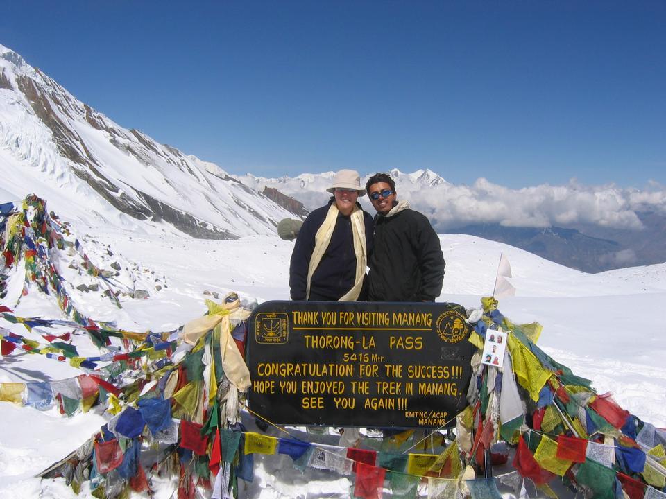 Trekker at Thorong-La pass, annapurna, nepal