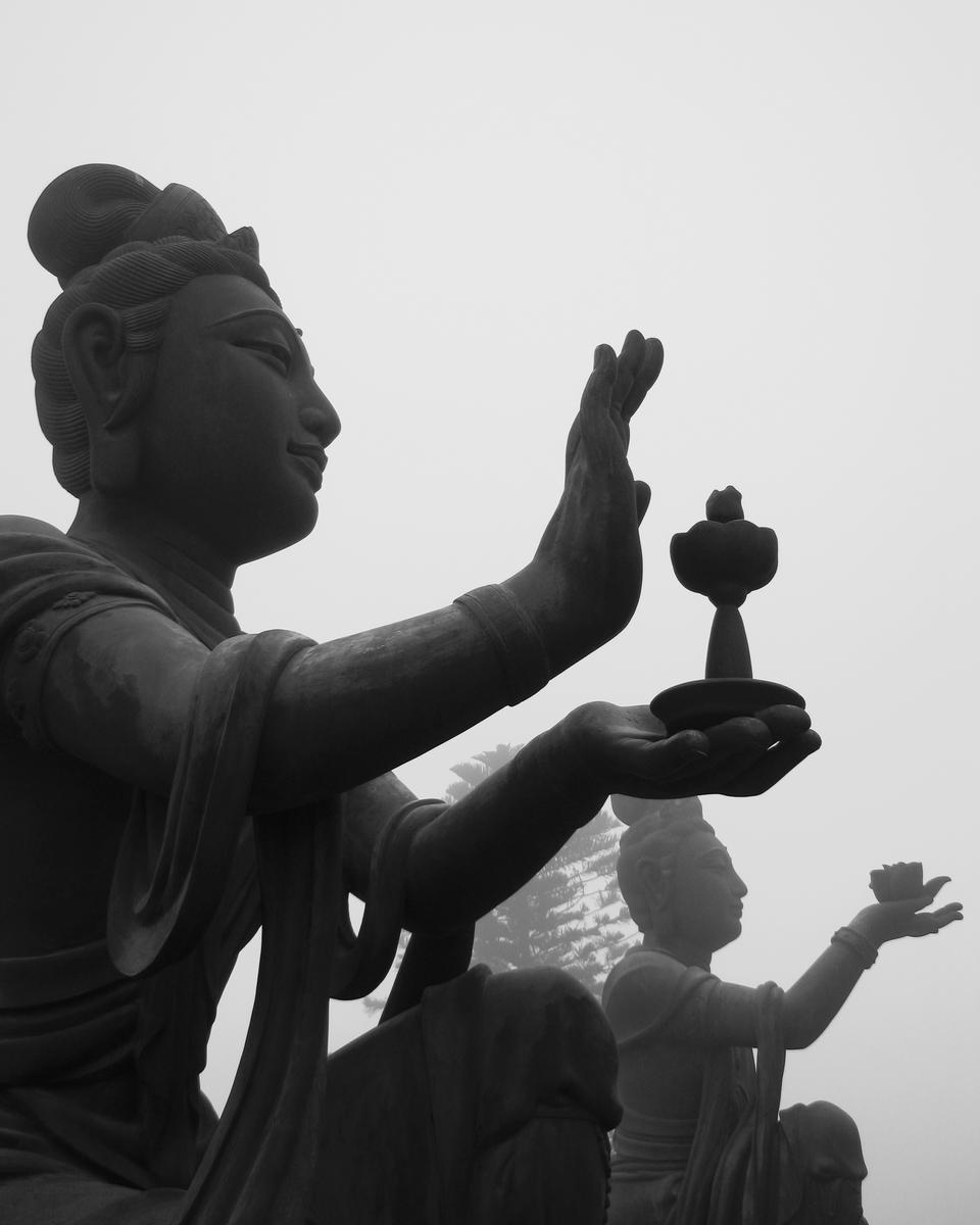 Giant Buddha sitting on lotus.Ngong Ping,Hong Kong