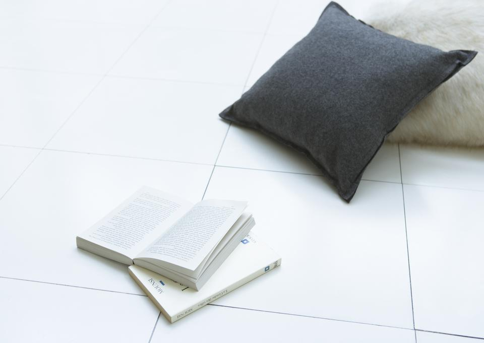 Pillows on floor with book