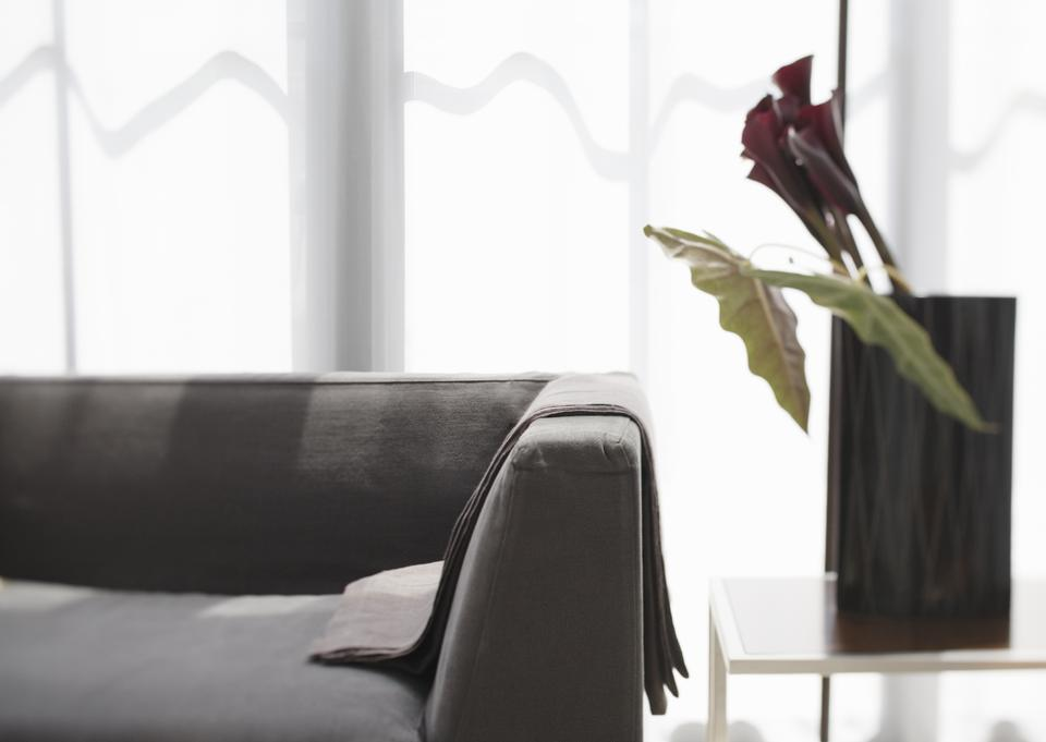 Sofa and Calla Lily flower