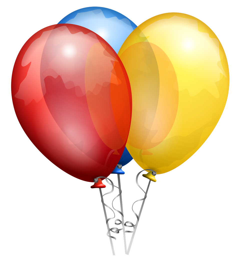 A group of three balloons on ribbons.