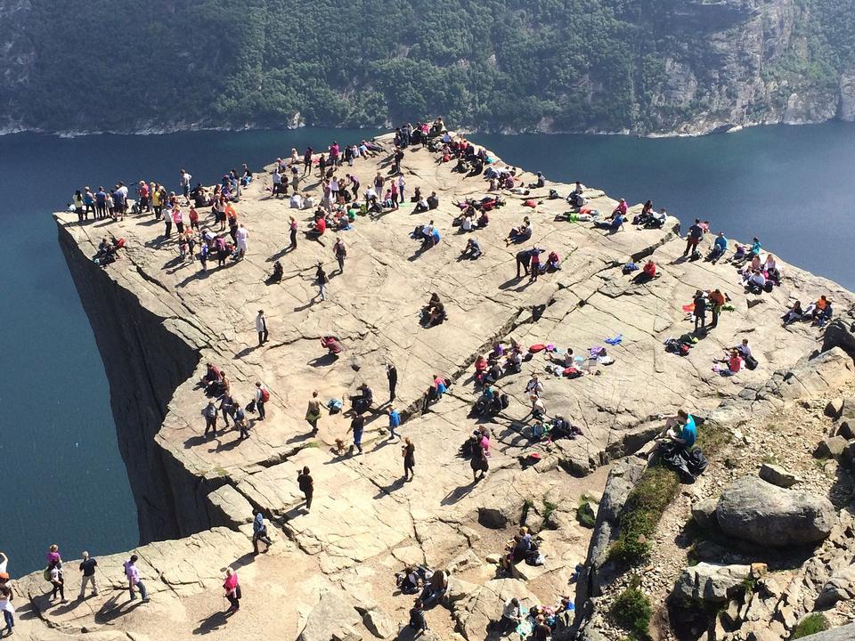 Cliff Preikestolen fjord dans Lysefjord - Norvège