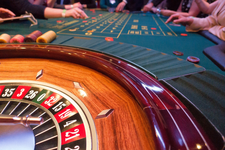 Spinning roulette in casino