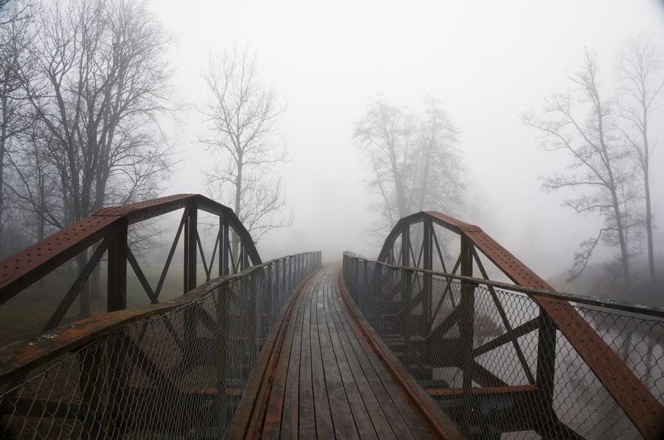 旧桥在蒙蒙秋园