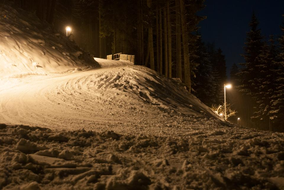 road that leads into the pine forest covered with snow at night