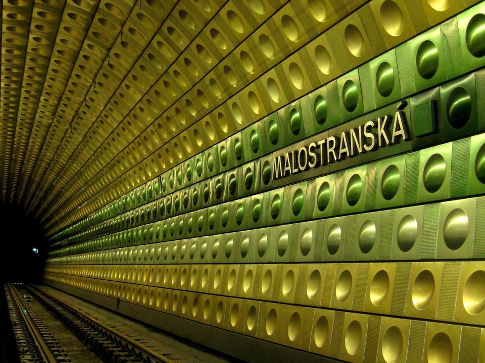 Colorful wall of Malostranska underground subway station