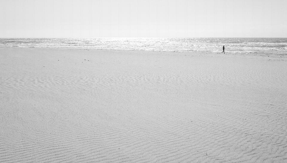 在沙滩上行走的人