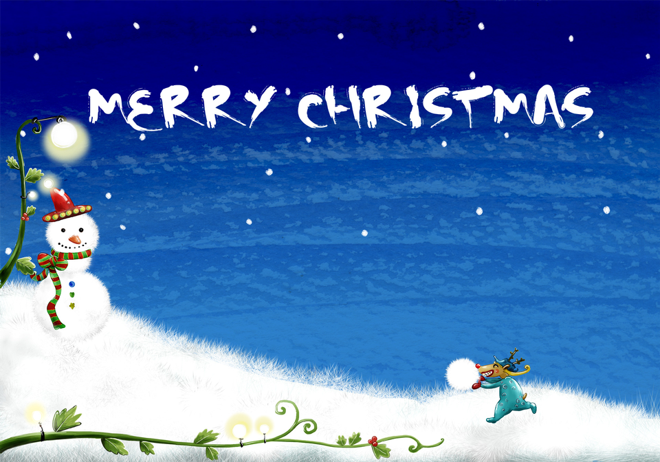 Christmas background-bonhomme de neige