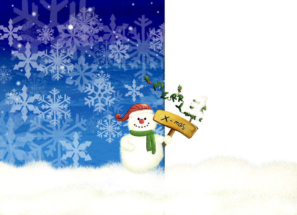Snowman with Merry Christmas